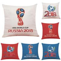 Wholesale Case Fan Cover - Fifa World Cup Russia 2018 Emblem Pillowcase Linen Pillow Case Sofa Car Cushion Cover 45*45CM Cafe Bar Soft Decoration Football Fan Souvenir