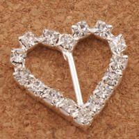 düğün kaydırıcıyı elmas taklidi toptan satış-60 adet / grup 10mm Bar 20mm Küçük Kalp Rhinestone Tokalar Davet Şerit Slider Düğün Kaynağı Malzemeleri Düğün Olaylar