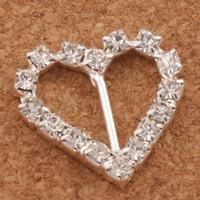 ingrosso strass per inviti di nozze-60pcs / lot 10mm Bar 20mm piccolo cuore strass fibbie invito nastro cursore forniture di forniture matrimoni matrimoni eventi
