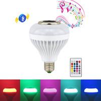 lampe führte bluetooth rgb audio groihandel-E27 Intelligentes LED-Licht RGB Drahtlose Bluetooth-Lautsprecher Lampe Musikwiedergabe Dimmbarer 12-W-Musik-Player Audio mit 24 Tasten Fernbedienung