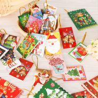 yılbaşı tema kartları toptan satış-Kırmızı Noel Kale 3D lazer özel kağıt el yapımı kartpostal toptan tebrik kartları Noel hediyesi kesmek