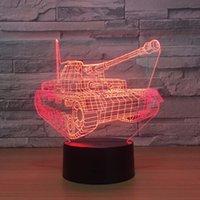 neuheit führte kind lampe groihandel-Bunte Tanks 3D Lichter Weihnachtsgeschenke Nachtlichter Neuheit Luminaria Led 3d Tischleuchten Leuchten für Kinder Schreibtischlampe Großhandel Dropshipping