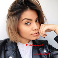 Wholesale Cheap Bob Style Wigs - Summer Style Beauty BOB Straight Wig Black Ombre African American Hair Cheap Wigs Online Kanekalon Wig Synthetic For Black Women