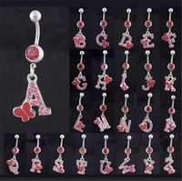 Wholesale Letter hook navel buckle Navel button women girl shinny Crystal Navel ring charm Jewelry Silver Chian gift colorul Body Jewelry T1C064