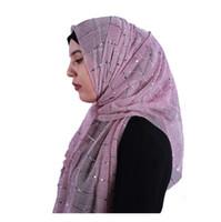 brilho xale muçulmano venda por atacado-2018 novas senhoras cachecóis glitter lantejoulas lenços cor sólida lenço mulheres muçulmano hijab bandana