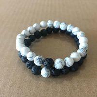 bead bracelet toptan satış-Kadın Erkek Doğal Lava Rock Boncuk Çakra Bilezikler Şifa Enerji Taş Meditasyon Mala Bilezik Moda Uçucu Yağ Difüzörü Takı