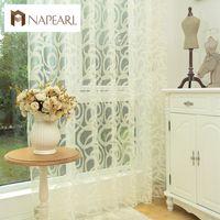 beyaz oturma odası tasarımı toptan satış-NAPEARL Sonsuz Tasarım Beyaz Perde Tül Paneli Sırf Iplik Perde Yatak Odası Pencere Tedaviler Için Perdeler Oturma Odası Için