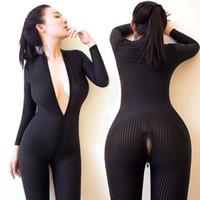 siyah bodysuit fermuar toptan satış-Dame Siyah Çizgili Sırf Bodysuit Pürüzsüz Elyaf 2 Fermuar Uzun Kollu Tulum