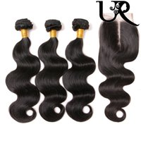 Wholesale Brazilian Body Wave with x4 Lace Closure A Unprocessed Peruvian Indian Cambodian Virgin Human Hair Weave Bundles with Top Lace Closure