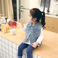 Wholesale Korean Clothing For Children - 0-2Y Denim Vest For Girls Korean Spring Children's Clothing Male Child Baby Denim Vest Pure Cardigan Kids Coat Outwear