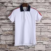 polos haut design achat en gros de-XX nouveau style de polo respirant hommes, haute qualité mode italienne luxe mode design T-shirt hommes col T-shirt crime avec manches courtes