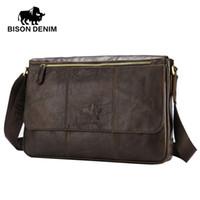 """Wholesale Messenger Bag 13 Men - BISON DENIM Genuine Leather 13"""" Laptop Crossbody Bag Male Shoulder Bag Ipad Travel Vintage Brown Messenger W2458-3Z"""