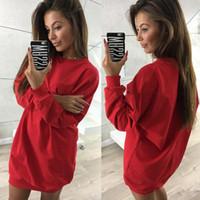 uzun hoodie elbiseleri toptan satış-2019 Kadın Elbiseler Hoodies Tişörtü Giysileri Uzun Kollu O-Boyun Gevşek Rahat Harajuku Kış Tasarımcı Hoodie Kazaklar Kadın Giyim