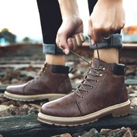 Wholesale cheap brown high heels - wholesale Cheap New Men's Waterproof Work Safety Boots High Heel Leather Fashion Ankle Boots Western Martin Cowboy Boots EUR39-44