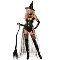 Wholesale adult women costumes online - Sexy uniform Siamese Demon Witch suit lacquerware suit Occidental Adult Halloween costume Wizarding costume role playing