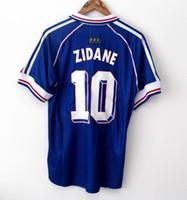 henry jersey venda por atacado-10 Zidane 1998 FRANÇA RETRO VINTAGE ZIDANE HENRY MAILLOT DE PÉ Tailândia qualidade camisas de futebol uniformes camisa Football Jerseys camisa dos homens