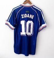 camisetas de futbol de calidad tailandia al por mayor-10 ZIDANE 1998 FRANCIA retro vendimia ZIDANE HENRY MAILLOT DE PIE calidad de Tailandia de los jerseys del fútbol de los uniformes de la camisa de fútbol de los jerseys de la camisa de los hombres