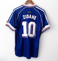 france l futbol forması toptan satış-10 ZIDANE 1998 FRANSA RETRO VINTAGE ZIDANE HENRY MAILLOT DE FOOT Tayland Kaliteli futbol formaları üniformaları Futbol Formaları gömlek Erkek gömlek