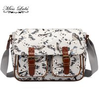 Wholesale School Bag Birds - Miss Lulu Brand Women Messenger Bags Cross Body Bags For Teenagers Girls Flower Bird Large School Shoulder Satchel L1107