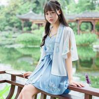 trajes tradicionales chinos de las mujeres al por mayor-2018 verano chino antiguo traje chino tradicional ropa para mujeres hanfu vestido danza tradicional