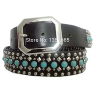 Wholesale wide film - bollywood indian famous films star Khan Genuine turquoise stone studded fashion cowhide lucky blue arcylic gorgeous belt