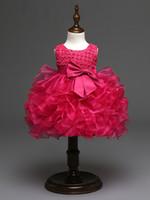 vestidos de menina linda flor de marfim venda por atacado-2018 Bonito Roxo Vermelho Quente Rosa Marfim Batizado Vestidos Frisado Padrão de Flor Dos Miúdos Do Bebê Vestido Da Menina para Casamentos