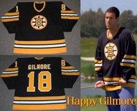 старые трикотажные изделия хоккей ccm оптовых-Бостон Брюинз 18 Happy Gilmore Hockey Jersey черный СКК Олд Тайм Джерси