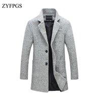 ingrosso giacca da uomo maschile coreana-ZYFPGS 2018 nuovi uomini autunno medio lungo cappotto di lana trench slim fit uomo risvolto giacca casual peacoat soprabito vestiti coreano 114