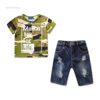 bebé traje fresco al por mayor-Baby Boy Clothes Sets Ropa de verano para niños para niños Camiseta de camuflaje de algodón Tops Pantalones vaqueros Pantalones 2 Unids Trajes para niños pequeños Ropa para niños geniales