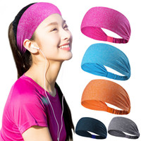 Wholesale rubber headbands - 18 Colors Solid Sports Yoga Hair Band Unisex Stretch Headband Quick Drying Wrap Gym Fitness Elastic Sweatband Head Wear Women Wen AAA374