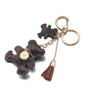encantos do anel chave do saco venda por atacado-pares de designer logoTassel Chaveiro PU Padrão Urso Couro Car jóias chaveiro encanto do saco