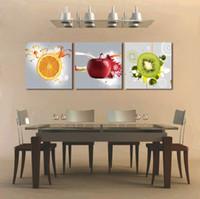 restaurante moderno naranja al por mayor-3 paneles Restaurante Frutas Naranja uva verde manzana arte de la pared Moderno cuadros modulares En para el cartel de decoración de cocina