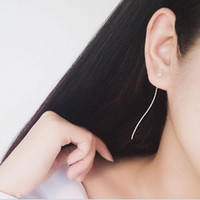 Wholesale white star line silver - Copper silver fringed stars long earrings earrings Ms. temperament day Korea sexy personality ear line Europe and America jewelry