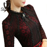 Wholesale Puff Sleeved Blouse - S-3XL Plus size Lace shirt female long sleeved Casual Lace Tops Spring 2016 fashion Slim Floral Vintage Women blouse