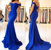 Wholesale gold prom dresses - 2018 Royal Blue Satin Mermaid Long Prom Dresses Elegant Off The Shoulder Bow Sash Simple Sweep Train Formal Party Evening Gowns BA7286