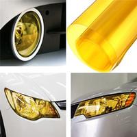 envoltura de vinilo amarillo al por mayor-30 x 60 cm Amarillo DIY Tinte de niebla de coche Luz de cola Faros de película de vinilo Hoja