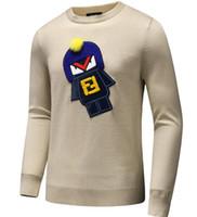 blusas de pescoço de algodão para mulheres venda por atacado-Nova Chegada do bordado de Inverno Camisola Ocasional Da Marca Roupas de Manga Longa Camisolas Dos Homens clássico Camisa Pullover O Pescoço Malhas