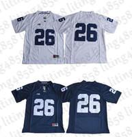 jerseys de fútbol cosido al por mayor-26 Saquon Barkley 2017 Penn State Nittany Lions Jersey No Name Jersey de fútbol universitario blanco azul marino cosido S-XXXL orden mixto