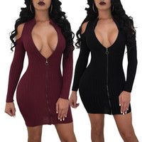 Wholesale sexy s curve - Big Yard Fashion Women Mini Dress High Neck Zipper Design Black Red Sexy Sheath Curve Dresses Clothing