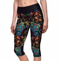 ingrosso gambali del cranio nero-2017 Hot Halloween Skull Black Sports Womens Capris Plus Size Running Gym Bodybuilding Leggings