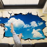 ingrosso materiale adesivo smontabile-[SHIJUEHEZI] Blue Sky Clouds 3D Wall Sticker per soggiorno camera da letto soffitto decorazione rimovibile in vinile materiale Wall Art