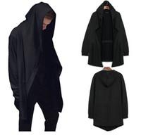 мужская мода черный кардиган оптовых-Высокая мода мужская с капюшоном кардиганы черный серый нерегулярные плащ стиль кофты Бесплатная доставка Streetwears для весны и осени
