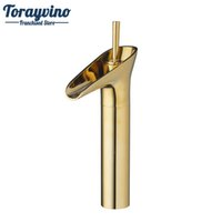 смесители для латунных сосудов оптовых-Basin Waterfall Bathroom Polished Golden Deck Mounted 97120 Soild Brass Single Handle Vessel Vanity Sink Tap Mixer Faucet