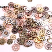 Wholesale Diy Steampunk - SWEET BELL Mix 100 pcs 7 color Steampunk Charms Gear Pendant Antique bronze DIY Metal Jewelry Making D0352-2