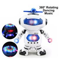 robots espaciales al por mayor-Los niños espacio Bailarín humanoide robot de juguete con la luz para mascotas Brinquedos Electrónica Jouets Electronique para Boy Kid