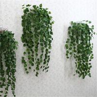 pflanze girlande großhandel-Freies verschiffen Grün Künstliche Gefälschte Hängende Rebstock Blätter Laub Blume Garland Hausgarten Wandbehang Dekoration IVY Vine Supplies