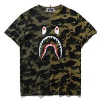 Wholesale sharks shirt - Summer Designer Luxury T Shirts for Men Tops Brand Shark Mouth Pattern Mens Clothing Short Sleeve Tshirt Mens Tops Streetwear Fashion Tide