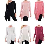 Wholesale Long Tunic Shirt Wholesale - women t-shirt Round Neck fashion Loose em long sleeve Tunic T-shirt Loose casual Casual Tops T-shirt LJJK912