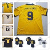 Wholesale People Football - NCAA Michigan Wolverines #9 Donovan Peoples-Jones 13 Eddie McDoom 88 Grant Perry College Football Jerseys Navy Blue White Gold Yellow S-3XL