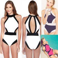 Wholesale one piece cut swimwear for sale - Femme Bikini One Piece Set Bathing Suit Woman Swimsuit Black White Push Up Monokini Bandage Lady Swimwear Hang Neck Cut Out yz V